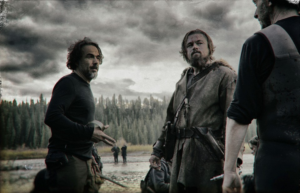 """THE REVENANT Renowned filmmaker Alejandro González Iñárritu (""""Birdman,"""" """"Babel"""") directs Leonardo DiCaprio on the set of THE REVENANT. Photo credit: Kimberley French Copyright © 2015 Twentieth Century Fox Film Corporation. All rights reserved. THE REVENANT Motion Picture Copyright © 2015 Regency Entertainment (USA), Inc. and Monarchy Enterprises S.a.r.l. All rights reserved.Not for sale or duplication."""