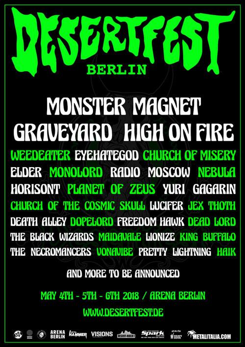 Stoner Rock Festivali Desertfest Berlin 2018 Tickets, Poster